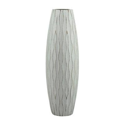12 in. H Weathered Wood Decorative Vase in Pale Ocean