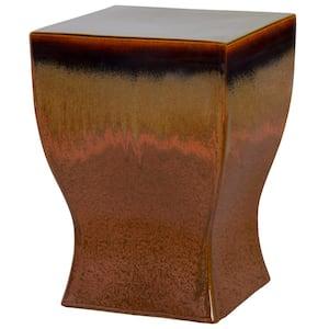 Square Brown/Copper Ceramic Garden Stool