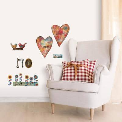 Multi-Colored Folk Art Heart and Key Peel and Stick Wall Decals (2-Sheets)