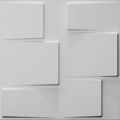 Falkirk Fifer 20 in. x 20 in. Paintable Off White Geometric Steps Fiber Decorative Wall Paneling (5-Pack)