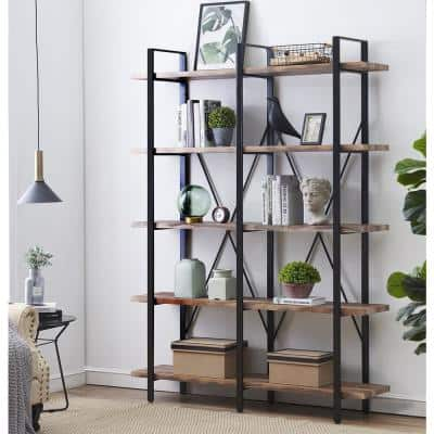 80 in. Retro Brown Wood 5-Shelf Etagere Bookcase with Black Metal Frame