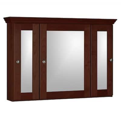 Shaker 36 in. W x 27 in. H x 6-1/2 in. D Framed Tri-View Surface-Mount Bathroom Medicine Cabinet in Dark Alder