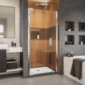 Elegance-LS 34-1/2 in. to 36-1/2 in. W x 72 in. H Frameless Pivot Shower Door in Chrome