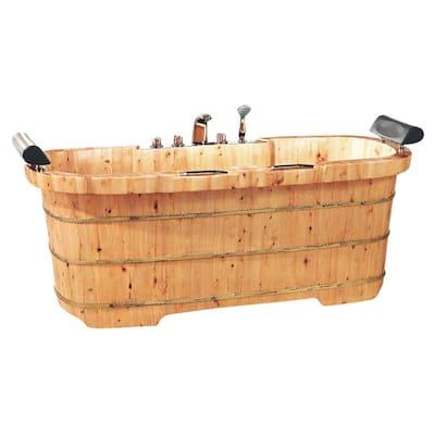 65 in. Wood Flatbottom Bathtub in Natural Wood