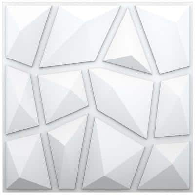 Verona 0.008 in. x 19.68 in. x 19.68 in. White Polystyrene 3D Wall Panel - 32.29 sq. ft. (12-Panels)