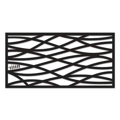 Wave 48 in. x 24 in. Black Polypropylene Multi-Purpose Decorative Panel