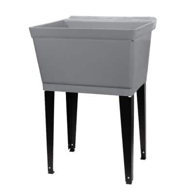 22.875 in. x 23.5 in. Grey 19 gal. Thermoplastic Utility Sink Kit with Black Metal Legs, P-Trap and Supply Lines