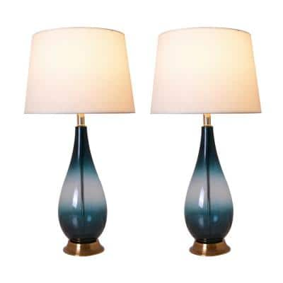 Tulip 28 in. Dark Green Ombre Indoor Table Lamp with Shade, Set of 2