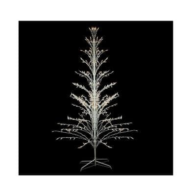 6 ft. White Lighted Christmas Cascade Twig Tree Outdoor Yard Art Decoration - Clear Lights