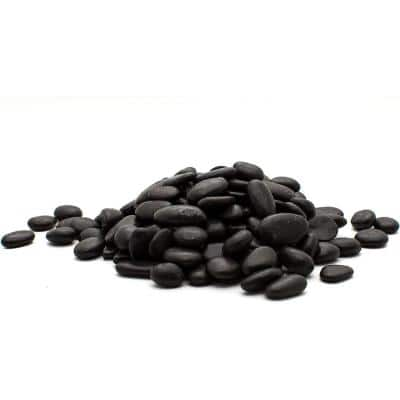 0.5 in. to 1.5 in., 20 lb. Small Black Grade A Polished Pebbles