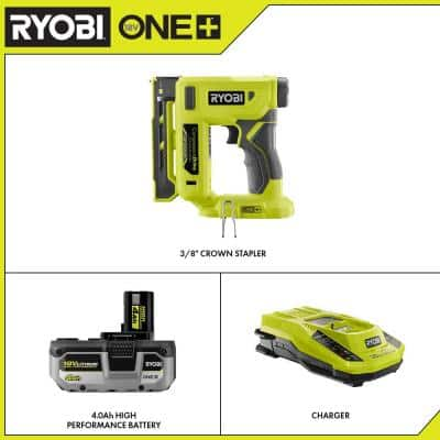 ONE+ 18V Cordless Compression Drive 3/8 in. Crown Stapler with HIGH PERFORMANCE 4.0 Ah Battery and Charger Kit
