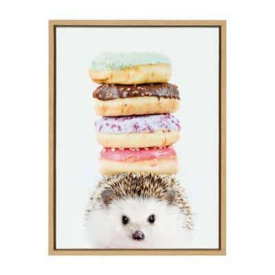 """Sylvie """"Hedgehog Donuts"""" by Amy Peterson Art Studio Framed Canvas Wall Art 18 in. x 24 in."""