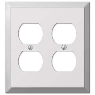 Metallic 2 Gang Duplex Steel Wall Plate - Polished Chrome
