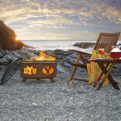 BYU 29 in. x 18 in. Round Steel Wood Burning Rust Fire Pit with Grill Poker Spark Screen and Cover