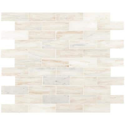 Angora Subway 11.81 in x 11.81 in. x 10 mm Polished Marble Mosaic Tile (9.7 sq. ft. / case)