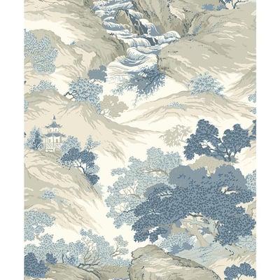Ordos Blue Eastern Toile Sample Blue Wallpaper Sample