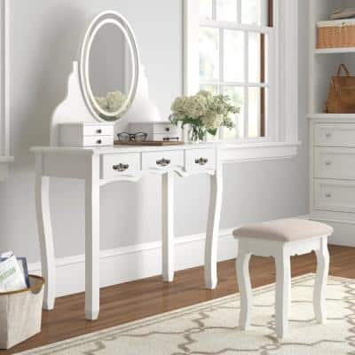 White Wooden Bedroom Vanity Sets Makeup Table Set with Oval Lights Mirror and Stool