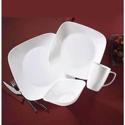 16-Piece Patterned White Glass Dinnerware Set (Service for 4)