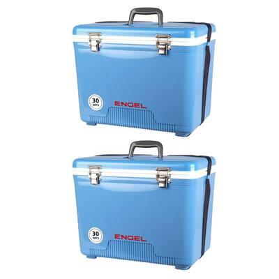 30 qt. Lightweight Insulated Cooler Drybox, Arctic Blue (2-Pack)