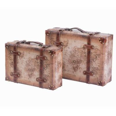 Set of 2 Vintage-Style World Map Leather Wooden Suitcase Trunks with Straps and Handle