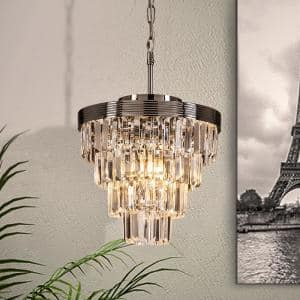 3-Lights Chrome Interior Decor Crystal Tiered Pendant Ceiling Lighting Chandelier