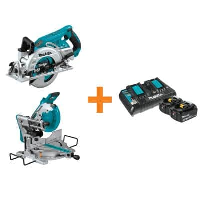 18-Volt X2 LXT Brushless Cordless Rear Handle 7-1/4 in. Circular Saw w/Bonus Miter Saw, 2 Batteries 5.0 Ah