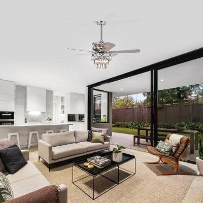 52 in. LED Indoor Chrome Ceiling Fan with Light Kit and Remote Control