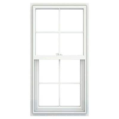 23.5 in. x 47.5 in. V-2500 Series White Vinyl Single Hung Window with Colonial Grids/Grilles