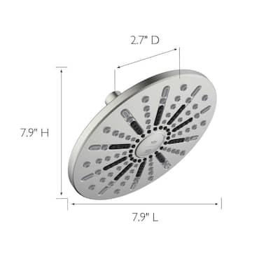 Ian Modern 2-Spray Patterns 7.9 in. Wall Mounted Fixed Shower Head in Satin Nickel