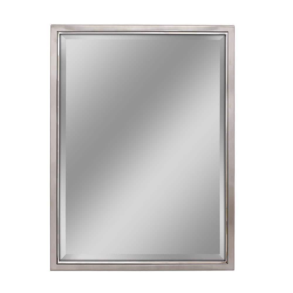 Deco Mirror 30 In W X 40 In H Framed Rectangular Beveled Edge Bathroom Vanity Mirror In Brush Nickel With Chrome Inner Lip 8773 The Home Depot
