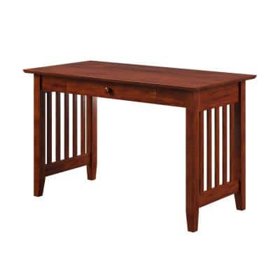 48 in. Rectangular Walnut 1 Drawer Writing Desk with Solid Wood Material