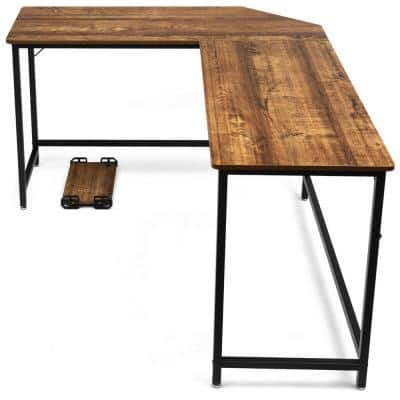 L-Shaped 66 in. Brown Computer Desk Corner Workstation Study Gaming Table Home Office