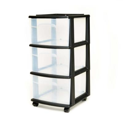14.25 in. W x 25.5 in. H Black Medium Cart 3-Drawer with Clear Drawers and Optional Casters