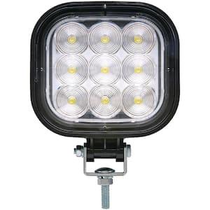 12-Volt/24-Volt LED Flood Beam Square Work Light, 9 LEDs, Black Housing