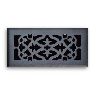 4 in. x 10 in. Ornamental Scroll Floor Diffuser Finished in Matte Black