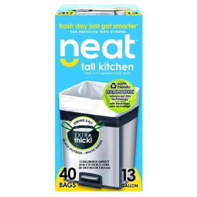 Tall Kitchen 13 Gal. 1.0 Mil Drawstring Kitchen Trash Bags Triple Ply Fortified, Eco-Friendly (Pack of 40)