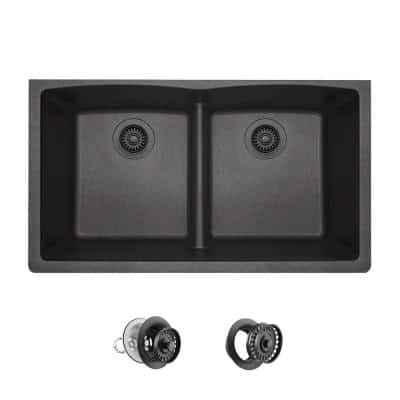 Black Quartz Granite 33 in. Double Bowl Undermount Kitchen Sink with Matching Strainer and Flange