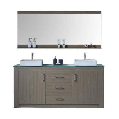 Tavian 72 in. W Bath Vanity in Gray Oak with Glass Vanity Top in Aqua with Square Basin and Mirror and Faucet