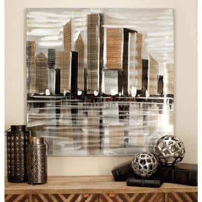 """40 in. x 40 in. Abstract """"Cityscape"""" Canvas Art"""