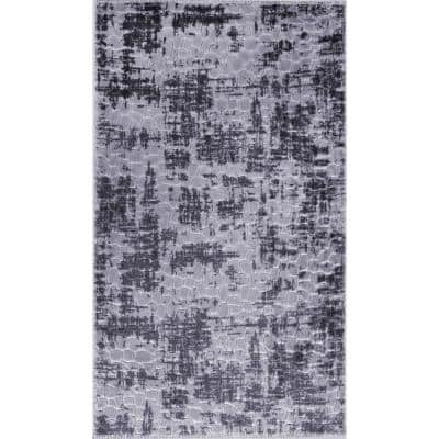 Newruz Collection Dark-Gray Gray 26 in. x 45 in. Polypropylene Bath Rug