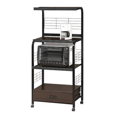 Brown and Black Microwave Cart with Shelf