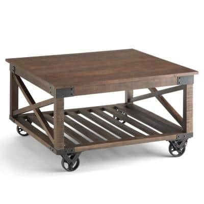 32 in. Distressed Dark Brown Medium Square Wood Coffee Table with Casters