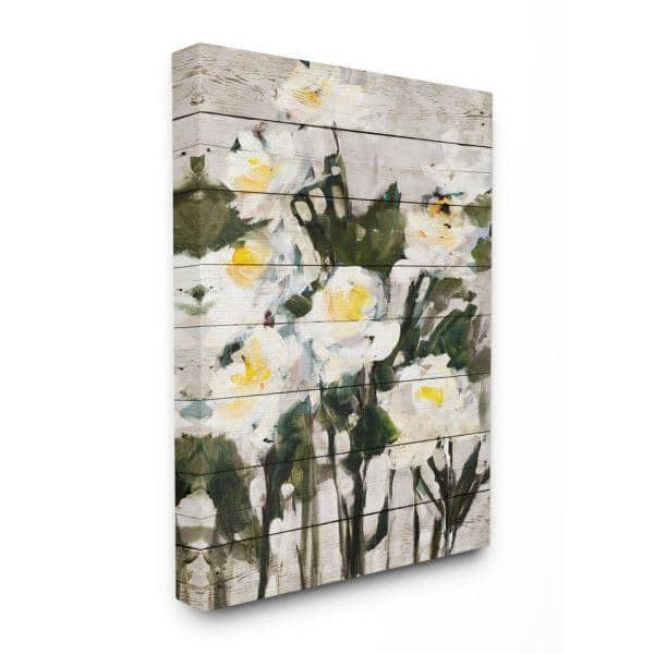 Stupell Industries 30 In X 40 In Abstract Wood Panel Flower Painting By Jane Slivka Canvas Wall Art Fap 148 Cn 30x40 The Home Depot