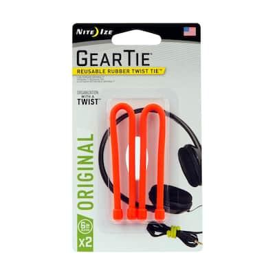 6 in. Gear Tie in Bright Orange (2-Pack)