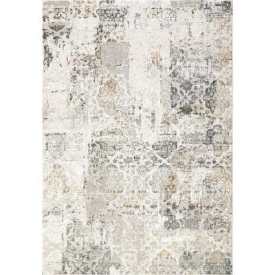 Quartz Ivory/Grey 9 ft. x 12 ft. 10 in. Transitional Polyester Area Rug
