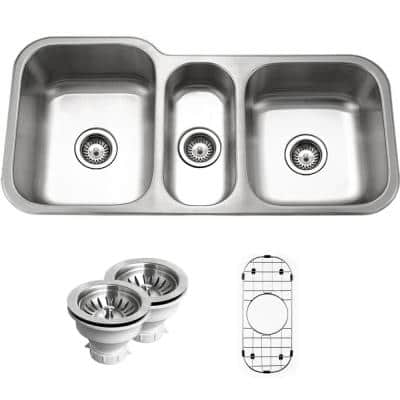 Medallion Gourmet Undermount Stainless Steel 39.8-in. 0-Hole Triple Bowl Kitchen Sink with Accessory Combo Pack