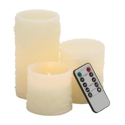 Cream Resin Traditional Flameless Candle (Set of 3)
