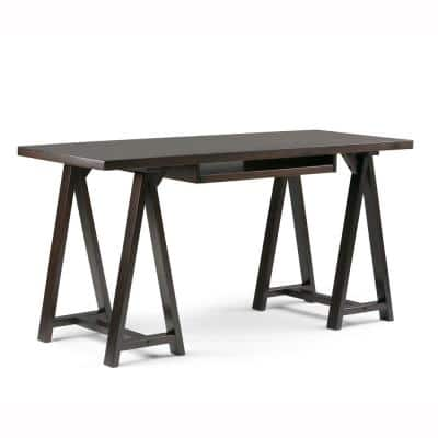 60 in. Rectangular Dark Chestnut Brown Writing Desk with Solid Wood Material