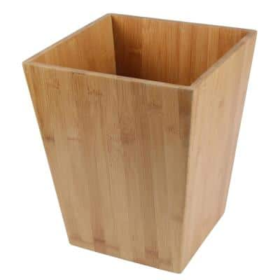 Natural Bamboo Waste Basket, Garbage Container Recycle Trash Bin