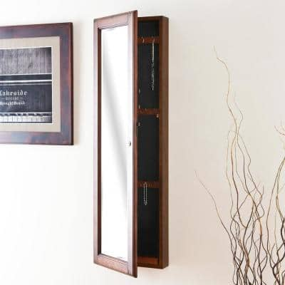 48-1/4 in. x 14-1/2 in. Warm Brown Walnut Wall-Mounted Jewelry Armoire with Mirror